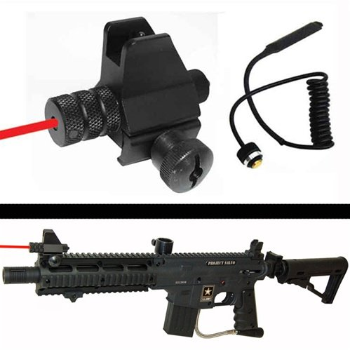 Trinity Aluminum Sight With Red Laser For Paintball Guns, Weaver Mounted Red Laser With Front Sight For Paintball Guns, Tippmann Paintball, Bt Paintball, Rap4 Paintball, Woodsball, Tactical Paintball, Tippmann A5, Tippmann A-5, Tippmann X7, Tippmmann X-7,