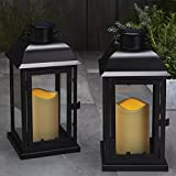 """Set of 2 Indoor and Outdoor Solar 11"""" Black Metal Flameless Lantern (Battery Included)"""