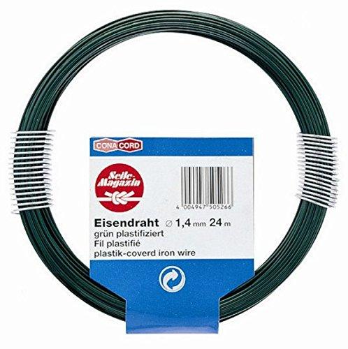 24m fune metallica, filo di ferro, rivestimento in PVC,-verde, diametro Ø 1,4mm