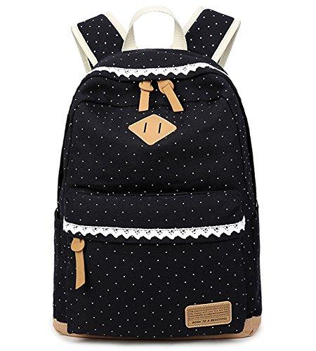 5-ALL-Fashion-Mdchen-Schulrucksack-Damen-Canvas-Rucksack-Teenager-Baumwollstoff-Schultasche-Outdoor-Freizeit-Daypacks-mit-Schicker-Lace-QXT-6066-Schwarz