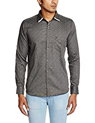 Easies Men's Casual Shirt (8907201304031_81320 E702UASFFSSC_39_Black and Grey)