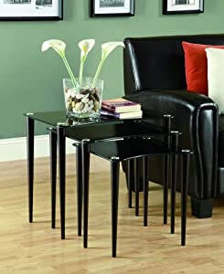 Monarch Specialties 3-Piece Tempered Glass Nesting Table Set, Cappuccino/Black