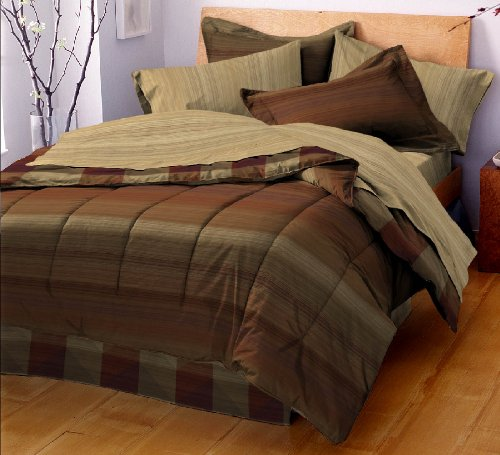 West Point Home Chevron Bed In A Bag, Brown, Full back-438706
