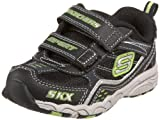 BOYS SKECHERS BAMBOOZLE TRAINERS (4.5, BLACK GREEN)