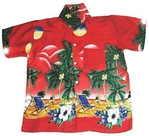 Happy Hawaiian Hut - Kinder Hemd Hawaii Liegestühle Motiv Mädchen Jungen - L 7-8 Jahre / 122-128, Rot