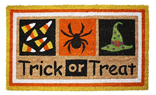 J & M Home Fashions Halloween Trick or Treat Vinyl Back Coco Doormat, 18 by 30