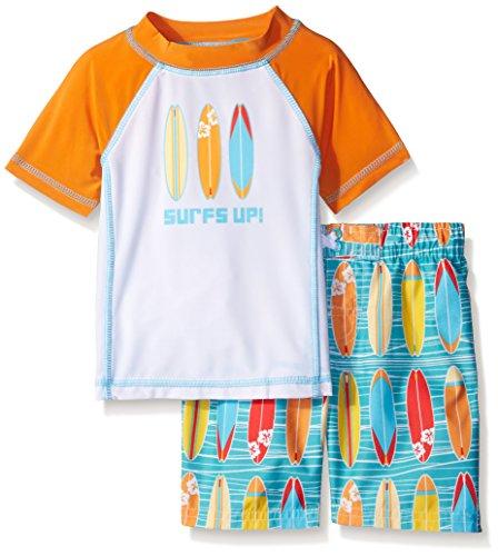 Baby Buns Boys' Toddler Boys' Wave Rider Rashguard Swimwear Set, Multi, 2T