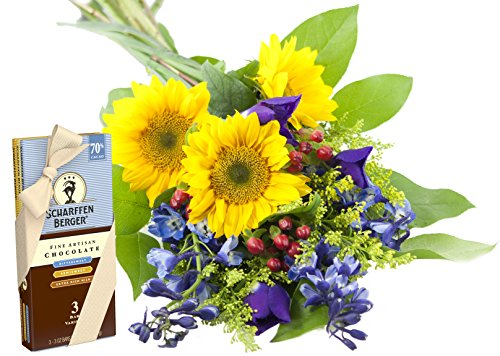 Blue Skies Sunflower and Iris Bouquet and Scharffen Berger Chocolate -Without Vase
