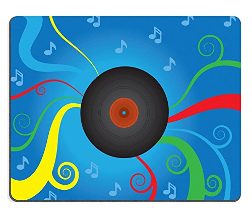 Liili Mouse Pad Natural Rubber Mousepad IMAGE ID: 14874592 Spinning vinyl record with abstract musical background