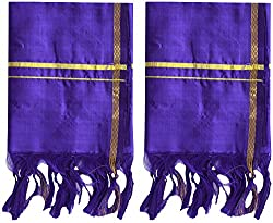 PAVITHRA SILKS Silk Towel, Pack of 2 (Royal Blue)