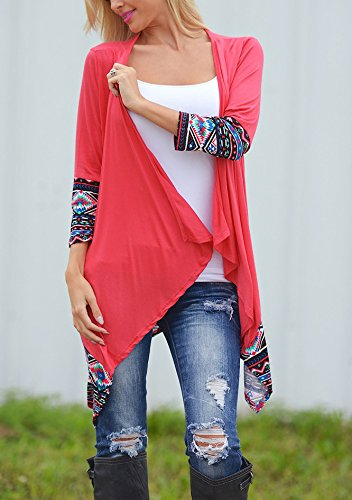 Relipop Women Winter Long Sleeve Irregular Printing Stitching Cardigan Jacket (X-Large, Red)