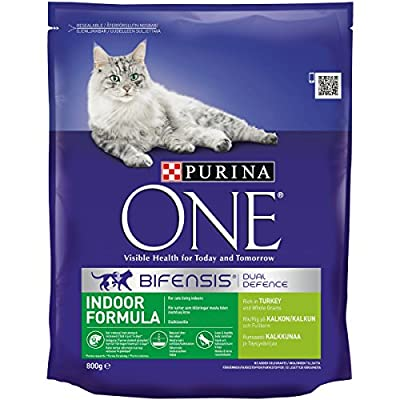 Purina ONE Indoor Formula Rich in Turkey and Whole Grains Cat Food 800 g (Pack of 4)