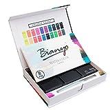 (ビア二オ)Bianyo 固形透明水彩絵の具 ケーキカラー 水筆付き 初心者向け 30色セット