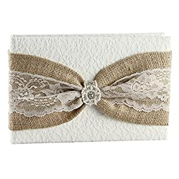 Ivy Lane Design Selina Collection Guest Book, 10.5-Inch by 6-Inch, Ivory