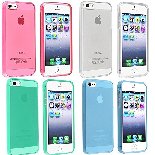 Vandot 4In1 Accessory Set Multi Colored Gel Soft Matte Silicone Case For Apple Iphone 6 4.7 Inch Protective Case Cell Phone Protector Case Back Cover Case Shell Protective Bumper Shell Silicone- Green Blue Pink White - Clear Transprante Matt Crystal Clear front-943721