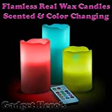 Gadget Hero's Real Wax Flamless Scented Color Changing Candles With Remote Control. 12 Colors LED.