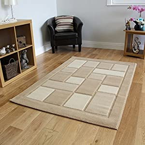 Soft Pile Affordable Plain Beige Stain Resistant Modern Rug 8 Sizes- Contempo by The Rug House