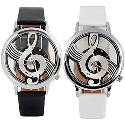 Polytree 2pcs Unisex Fashion Musical Note Hollow Faux Leather Strap Quartz Wrist Watch (Black White)