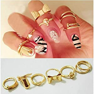 7pcs Skull Bowknot Heart Nail Knuck Band Midi Mid Finger Tip Stacking Rings (7 pcs)