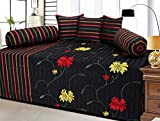Rashi Homes POLYCOTTON 6 Piece Single Diwan Set -BLACK Color