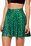Womens Flared Stretch Soft Green Mermaid Print Pleated Mini Dress Skater Skirt