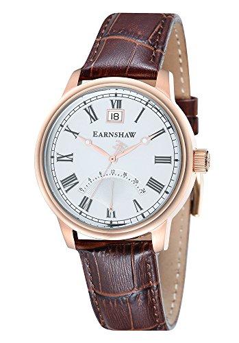 Thomas Earnshaw - ES-8033-04 - Cornwall - Montre Homme - Quartz Analogique - Cadran Blanc - Bracelet Cuir Marron