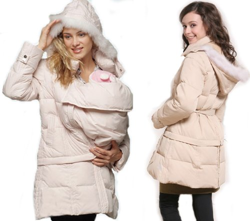 2-way Down Maternity Coat with baby pouch One-size Beige