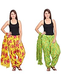 Rama Set Of 2 Floral Print Green & Yellow Colour Full Patiala With Dupatta Set