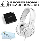 Audio-Technica ATH-M50WH Professional Studio Monitor Headphones with Coiled Cable, White with FiiO E6 Headphone Amplifier