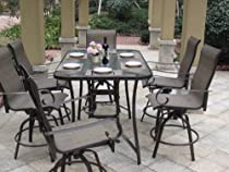Hot Sale 7pc Santa Monica Swivel Sling Patio Bar Set