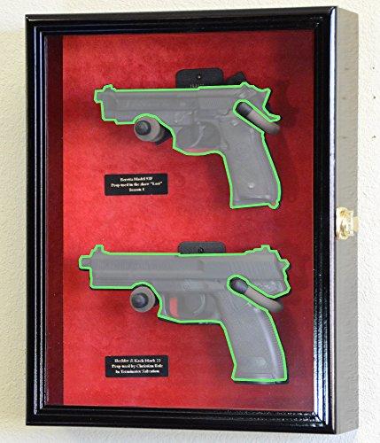 Large/ Double 2 Pistol Handgun Revolver Gun Display Case Cabinet Rack Shadowbox (Black Finish, Red Background) (Hand Gun Display Case compare prices)