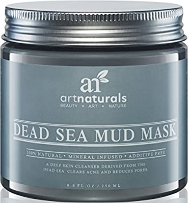 Art Naturals® Dead Sea Mud Mask for Face & Body 8.8 oz, 100% Natural and Organic Deep Skin Cleanser - Clears Acne, Reduces Pores & Wrinkles - Ultimate Spa Quality -Mineral Infused, Additive Free