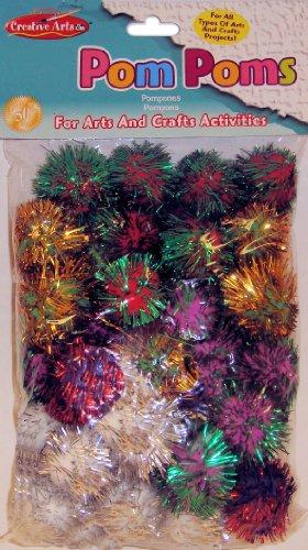 Charles Leonard Pom-Poms, 1 Inch, Glitter Assorted, 40/Bag (69540)