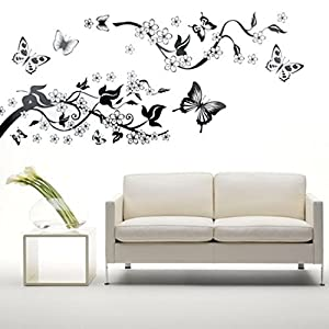 Flowers & Butterflies Vinyl Home decor Wall Art Decal Sticker by Beautymall