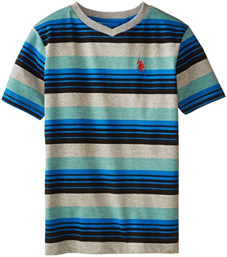 U.S. Polo Assn. Big Boys' Heather Striped V-Neck T-Shirt, Block Green Heather, 14/16