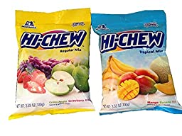 Morinaga Hi-Chew Tropical Mix & Regular Mix Fruit Chews - Mango, Banana, Melon, Green Apple, Strawberry & Grape Bundle