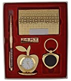#10: CrownLit's 4 in 1 Gift Set with Metal Table Clock,Crystal Pen,Business Card Holder, Metal Keychain