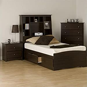 Prepac Fremont 3 Piece Tall Twin Bedroom Set In Espresso Bedroom Furniture Sets