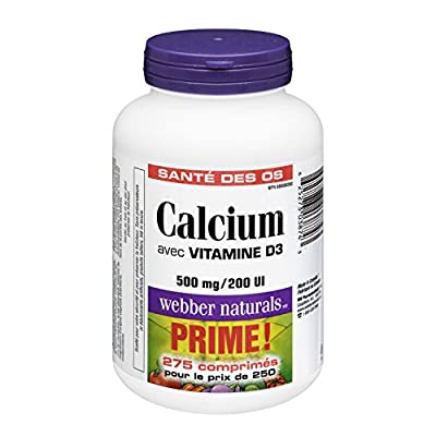 Webber Naturals Calcium Carbonate with 200 IU Vitamin D Tablet, 500mg