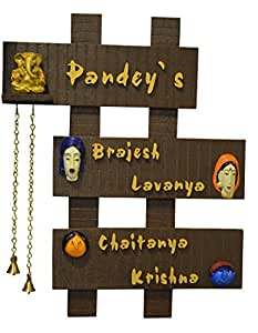 Buy karigaari wooden family name plate online at low prices in india - Name plate designs for home ...