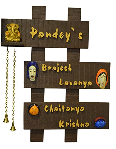 Buy karigaari wooden family name plate on amazon for Classic house name plates