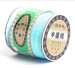 Lukis 1 Roll 0.8mmx135m dünn geflochten Nylon Knot SchnurMacrame Beading Faden Schnur Nylonschnur Nylonfaden wieß (Blau-16)