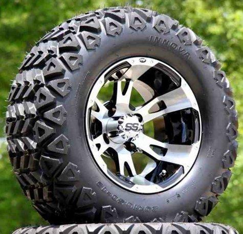 12-ruckus-machined-black-golf-cart-wheels-and-23x105-12-dot-all-terrain-golf-cart-tires-set-of-4