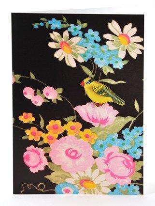 Petra Boase Tin Badge Card - Black Floral front-43861