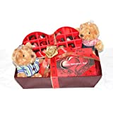 ZOROY Passionate Love Hamper- Couple Teddies, Heart Box With Chocolates And A Valentine Special Box Of 12 Chocolates