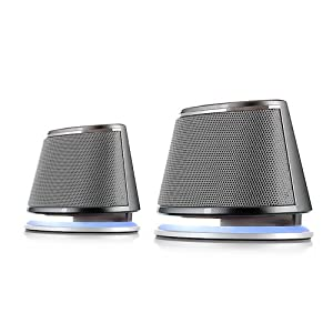 Satechi® Dual Sonic Speaker 2.0 Channel Computer Speakers for Apple Macbook Pro , Air / Asus / Acer / Samsung / Dell/ Toshiba / HP / Sony Vaio and More (Silver)