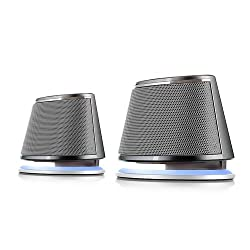 Satechi Dual Sonic Speaker 2.0 Channel Computer Speakers (Silver) for Apple Macbook Pro Air / Asus / Acer / Samsung / Dell/ Toshiba / HP / Sony Vaio and More
