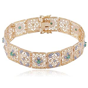 Gold Over Sterling Silver Round-Cut Emerald and Diamond Accent Royal Indian Bracelet-
