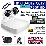 HI DEF CCTV - 4 CHANNEL 720P HD DVR - (1000GB) + 2 Night Vision HD Video Cameras Security System