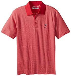 MLB Los Angeles Angels Mens Drytec Resolute Polo Knit Short Sleeve Top by Cutter & Buck